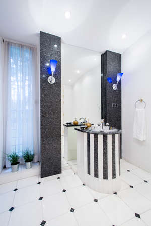 rich people: Expensive bathroom in rich people house, vertical Stock Photo
