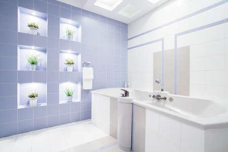 enormous: Bright modern bathroom with enormous bathtub, horizontal Stock Photo