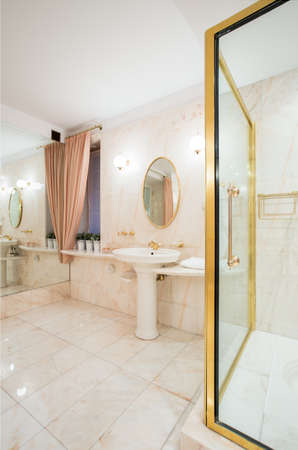 View of expensive bathroom with golden elements photo
