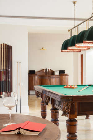 pool table: View of home interior with pool table Stock Photo