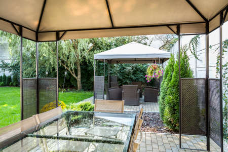 patio: Beautiful, modern patio in hotels garden Stock Photo