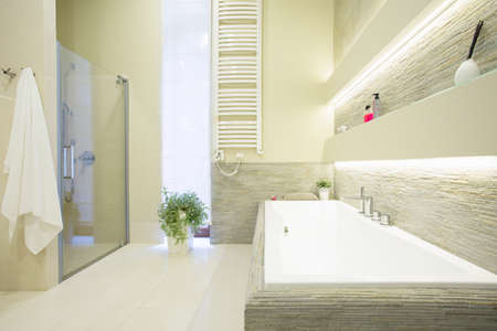 Photo of white expensive bathroom with big rectangular bathtub