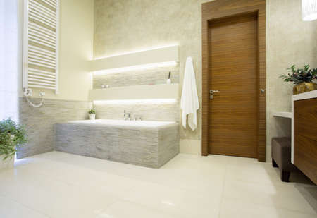 bathroom: Picture of wooden entrance door to the luxury bathroom Stock Photo