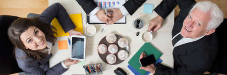 office use: Panoramic view of business break in the office Stock Photo