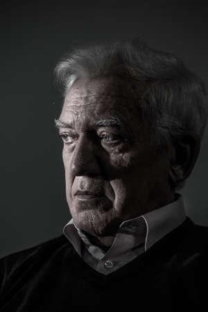 senior depression: Portrait of aged man suffering from depression Stock Photo