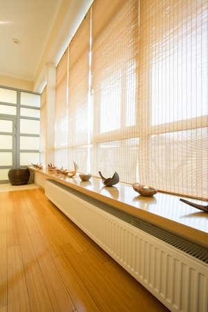 window treatments: Big window with curatin in luxury spa resort Stock Photo
