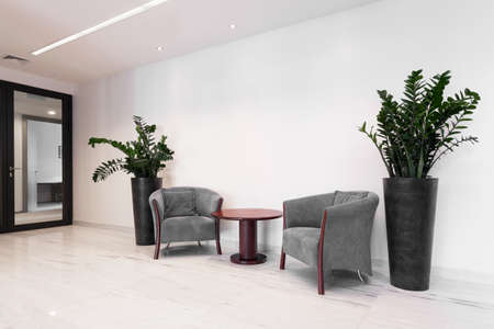 office lobby: Hall of corporate building with comfortable armchairs