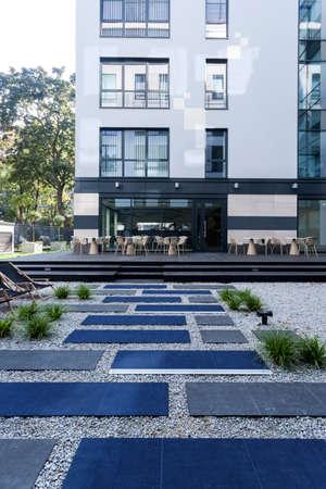 modern garden: Modern garden in front of business building