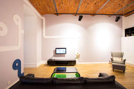 progressive art: Horizontal view of room with designed elements