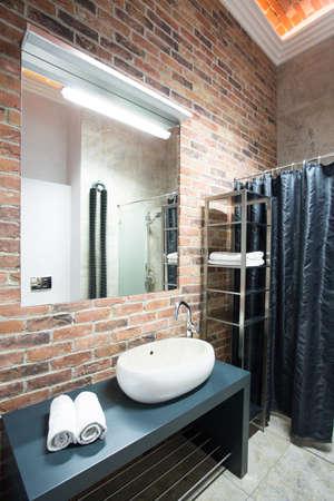 bathroom equipment: Interior of bathroom in a loft, vertical
