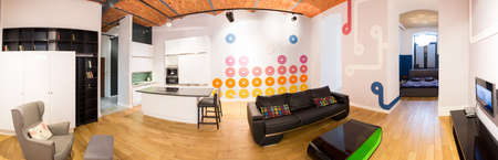 Panoramic view of apartment with connected space photo