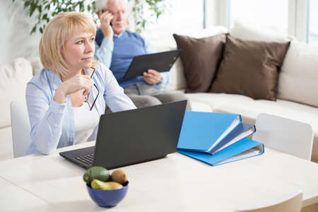 Senior attractive woman working at home on her laptop Stock Photo