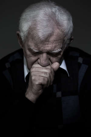 bereavement: Portrait of old aged man who mourns his wife