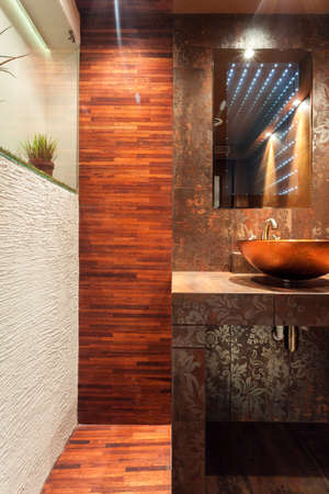 Vertical view of expensive interior of bathroom photo