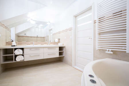 The interior of the spacious elegant bathroom