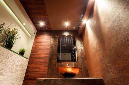 handbasin: Interior of luxury toilet in modern apartment Stock Photo