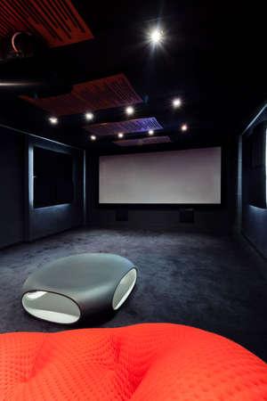 home cinema: Plasma TV in cinema at modern home Stock Photo