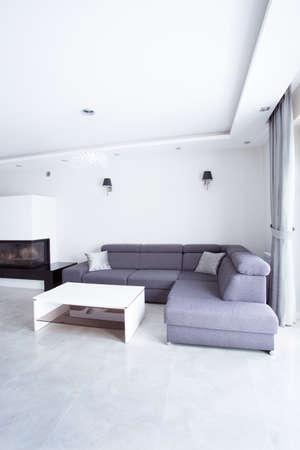 modern living: Gray corner sofa in modern living room