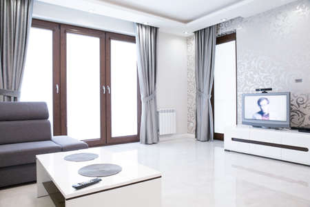 drawing room: Elegant living room interior with silver wallpaper