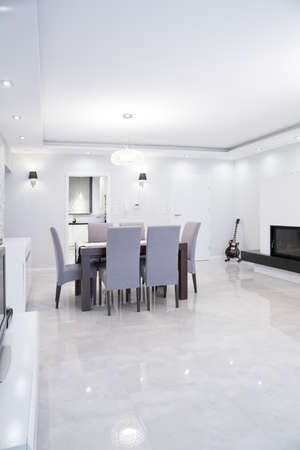 Picture of exclusive gleaming dining room interior photo