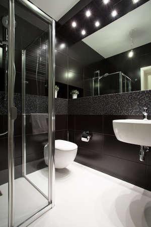 Dark interior in bathroom in modern house Stock Photo