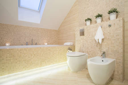 light house: Beautiful bathroom in beige color in apartment