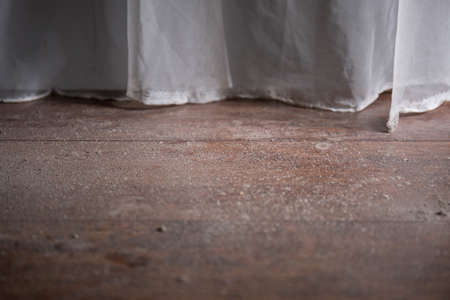 slovenly: Close-up of dusty grimy wooden parquet