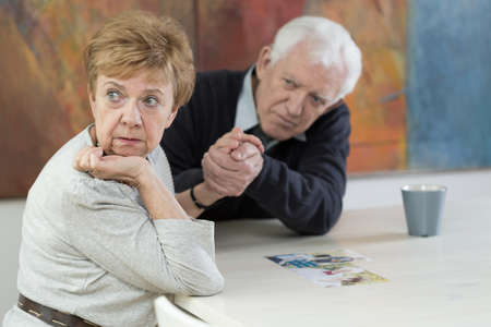 old age home: Senior couple having marital problems in old age Stock Photo