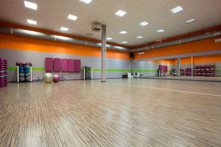 recreation room: Interior of fitness room with large mirror