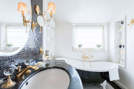 luxury bathroom: Interior of luxury bathroom with crystal details