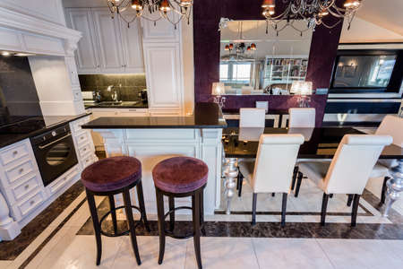 kitchen tile: Horizontal view of modern glamour interior with violet details Stock Photo
