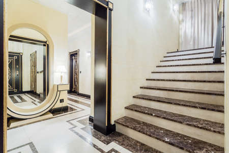 Close-up of granitic stairs in luxury residence Banco de Imagens
