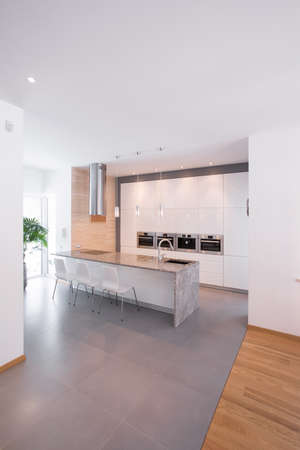 countertops: Picture of simply and minimalism kitchen design Stock Photo