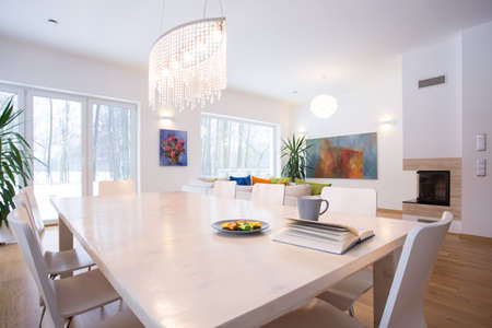 Close-up of big table in living room