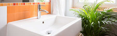handbasin: Close-up of washbasin in beauty color toilet Stock Photo