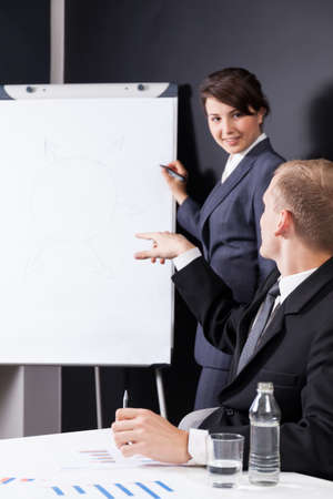 Manager writing on paper board during business meeting photo
