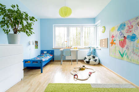 room: Cute stylish designed interior of small children room