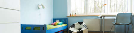 Panoramic photo of modern cute decor of toddler room photo