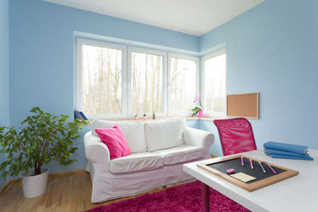 small room: Photo of blue children room with stylish furniture