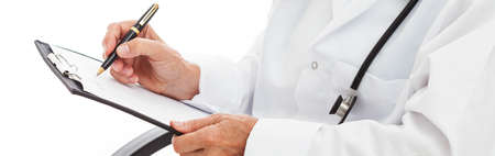 noting: Doctors hands holding clipboard and noting - panorama