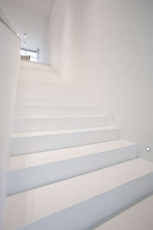 single dwellings: Picture of white stairs in modern house Stock Photo