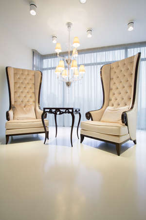 Close-up of designed chairs in retro style photo