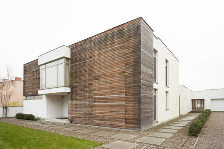 housing style: External view of spacious designed detached house