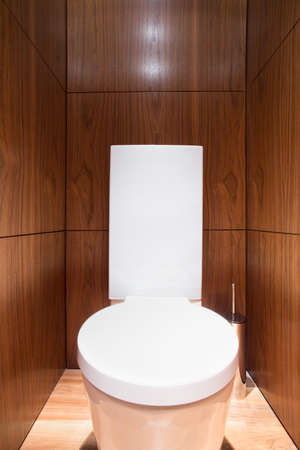 wc: Holzwand in Toilette in Luxus-Haus