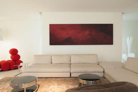 Moderno soggiorno arredato in un palazzo moderno Archivio Fotografico - 37773412