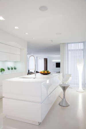 kitchen countertops: Beauty white kitchen interior in contemporary house