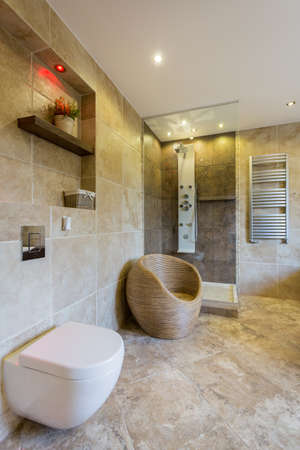 Modern white toilet in new luxury bathroom Archivio Fotografico