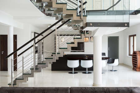 White marble stairs on the first floor in luxury apartment Stock Photo