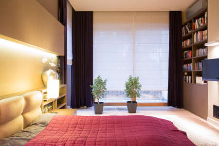 View of interior of modern style bedroom Stock Photo