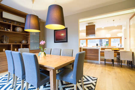 Spacious dinning room in modern house Stock Photo